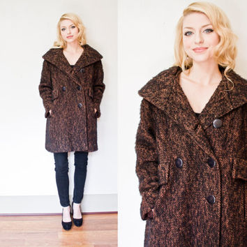 Vintage 1960s Coat - Brown Boucle Wool Shawl Collar double Breasted Jacket 60s - Small - Medium
