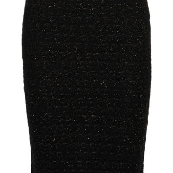 Sibling - Metallic wool-blend bouclé pencil skirt