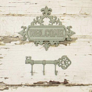 Welcome Sign,Cast Iron Welcome Sign,Front Porch Sign,Front Porch Decor,Welcome Plaque,Entry Sign,Entry Plaque,Front Door Sign,Housewarming