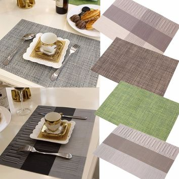 7colors PVC Table Mat Kitchen Waterproof Placemat Insulation Table Decorations Linens Coasters Bowl Pad Dining Table Mats