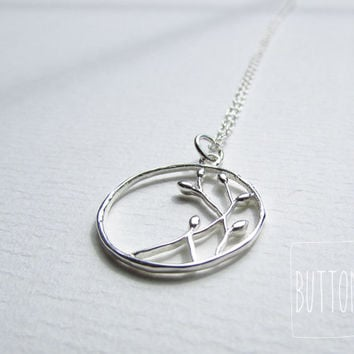 Sterling Silver Spring Bud Flower Branches Necklace