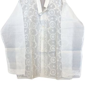 Womens Ivory Shirt Tunic Floral Hand Embroidered Elegant Sexy Top Blouse Cover Up L: Amazon.ca: Clothing & Accessories