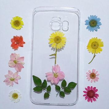 Samsung Galaxy S6 Case, Samsung Galaxy S6 Edge, Clear Samsung Galaxy S6 Cases, Galaxy S5 Case flower, pressed flower samsung galaxy case