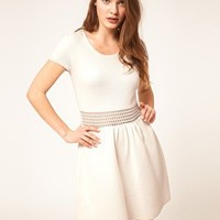 ASOS Fit And Flair Dress With Crochet Waist Band at asos.com