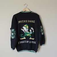 Vintage Notre Dame Belle Pointe Cardigan Sweater Size Medium