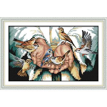 With love in the hands Printed Canvas DMC Counted Chinese Cross Stitch Kits printed Cross-stitch set Embroidery Needlework