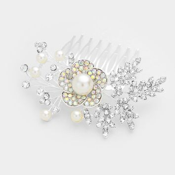 Floral Crystal Pave & Pearl Hair Comb