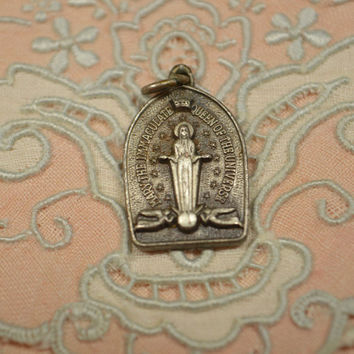 Vintage Creed Sterling Silver Religious Medal 1959 National Shrine of Immaculate Conception Dedication Religious Charm Pendant