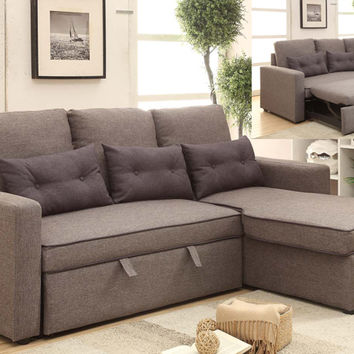 2 pc sarah collection 2 tone grey faux linen fabric upholstered sectional sofa with sleeper