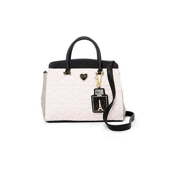 Betsey Johnson Triple Entry Satchel Shoulder Tote Bag + Pouch Set