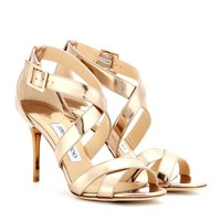 jimmy choo - louise metallic-leather sandals