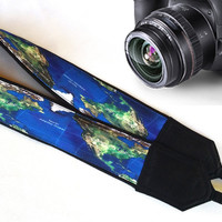 Map Camera Strap. Blue Strap.  Gift For Traveller.  Accessories