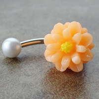 Peach Daisy Flower Belly Button Jewelry