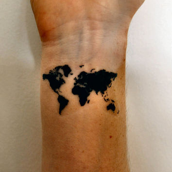 World Map Temporary Tattoo, Map of the World Tattoo, Travel Tattoo, Gift Idea, World Map Outline Tattoo, Indie Tattoo, Hipster Tattoo