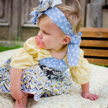 Blue, yellow, slate and tan Marissa's Perfect Ruffled Peasant, 6-12 months, ready to ship, baby dress