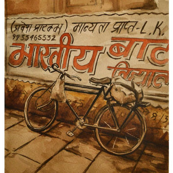 Bicycle India Watercolor Painting Print 10x14 by BohemianHabits