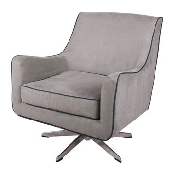 Zora Denim Swivel Arm Chair Stainless Steel Legs, Denim Dove Gray