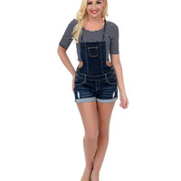 Navy Distressed Denim Button Stretch Short Overalls
