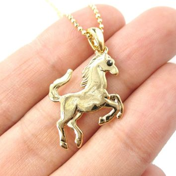 Rearing Horse Shaped Pendant Necklace in Gold | Animal Jewelry