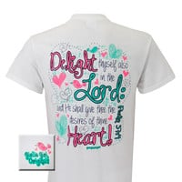 Girlie Girl Originals Delight Heart Cross Christian Bright T Shirt