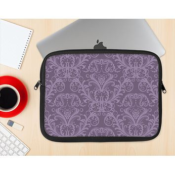 The Dark Purple Delicate Pattern Ink-Fuzed NeoPrene MacBook Laptop Sleeve