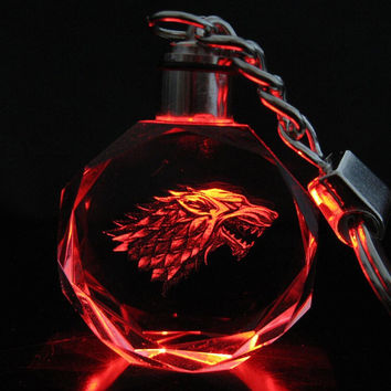 Game of Thrones Keychain House Stark of Winterfell Wolf Symbol Badge Crystal Keyring Key Chain LED Pendant Color Flash Gift
