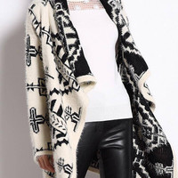 Beige Oversized Lapel Cardigan with Double Jacquard