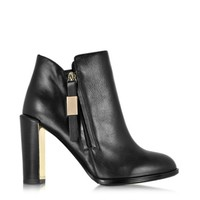 See by Chloe Designer Shoes Floreto Black Leather Heel Bootie