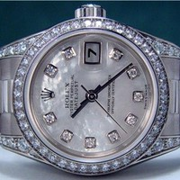 ROLEX - 26mm Ladies 18kt White Gold Datejust President - MOP Diamond - 179159