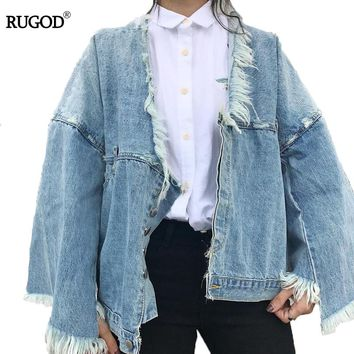 RUGOD Fashion Autumn Female Jacket Loose Solid Flare Sleeve Button Denim Jacket Casual Fur Collar Jackets For Women 2017