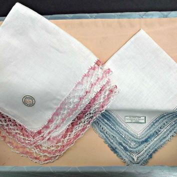 Two Crocheted Lace Edged Irish Linen Hankies with Vintage Quilted Hosiery Box