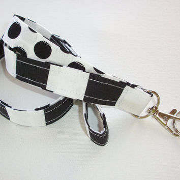 Lanyard  ID Badge Holder - Lobster clasp and key ring - design your own - black white strips polka dots -  two toned double sided
