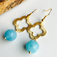Dangle Earrings, Quatrefoil Earrings, Gold Plated, Angelite, Etsy, Jewelry, Blue Earrings,