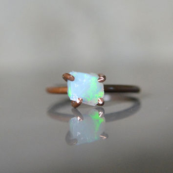 Ethiopian Opal Rough Nugget Ring on Copper Size 5 1/2