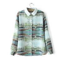 Printed Long-Sleeve Button Collared Blouse