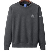 ADIDAS 2018 autumn and winter new round neck pullover long-sleeved sweater Grey