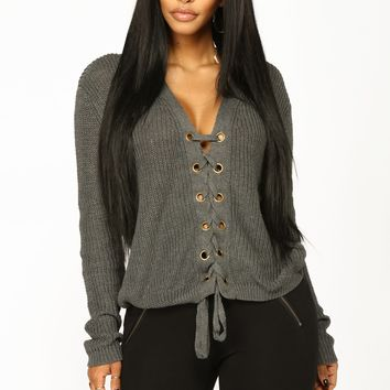 Alana Lace Up Sweater - Heather Grey