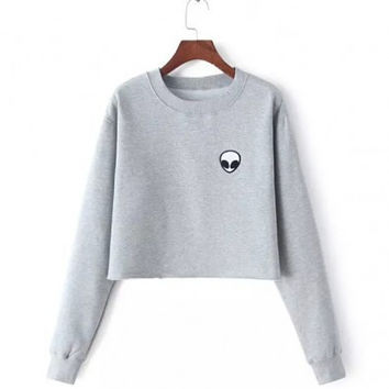 Cropped Fleece Sweatshirt with Alien Print