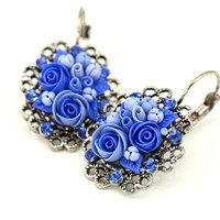Bright Blue Floral Earrings with Swarowski Crystals by KittenUmka