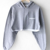 Super! Oversized Cropped Hoodie
