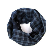 Cotton Plaid Scarf Toddler Scarf Kid Scarf Child Infinity Scarf Boy Scarf Unisex Scarf Navy Blue Light Blue Gift Idea Ready to Ship