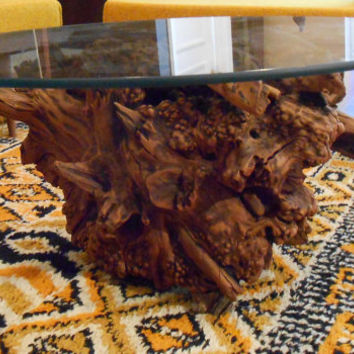 Mid Century Modern Burlwood Coffee Table Round Glass Top