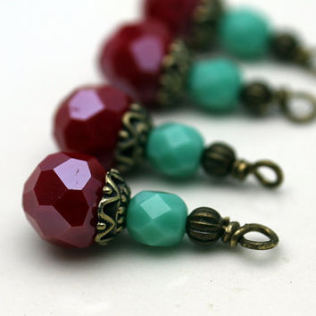 Red Multifaceted Round Crystal and Turquoise Czech Bead Dangle Charm Drop Set