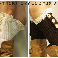 3 wood button lace leg warmers womens ivory or chocolate  by Catherine Cole Studio legwarmers knit rib