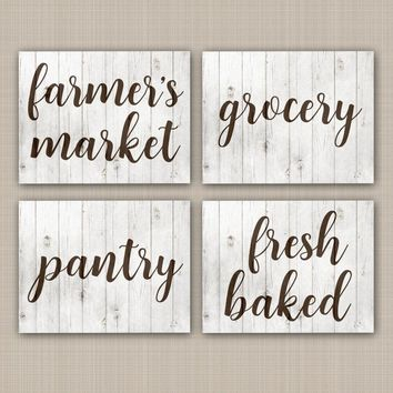 FARMHOUSE Wall Art, CANVAS or Prints, Rustic Kitchen Signs, Farmer's Market, Pantry, Grocery, Fresh Baked, Country Wood Decor, Set of 4