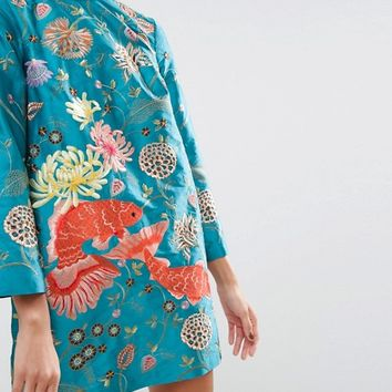 ASOS SALON Embroidered Carp Shift Dress at asos.com