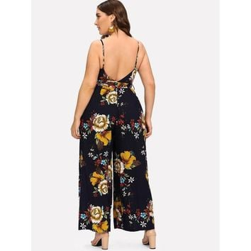 Belted Floral Wrap Cami Jumpsuit