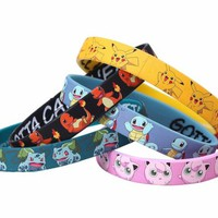 POKEMON CHARACTERS RUBBER BRACELET 5PK SET Wristband Pikachu Charmander Squirtle