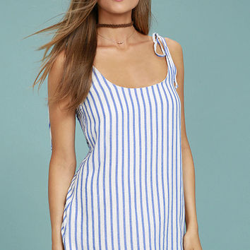 Seaside Swing Blue and White Striped Shift Dress