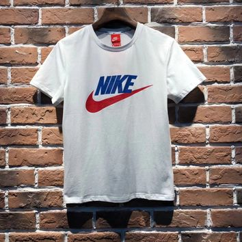 NIKE Women Fashion Short Sleeve Pure cotton Print Round collar Top